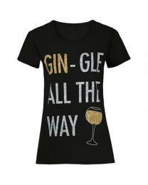 "Kerst T-shirt ""Gin-gle all the way"" Dames"