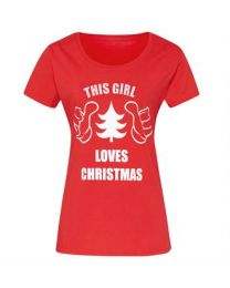 "Kerst T-shirt ""This Girl Loves Christmas"" Dames"