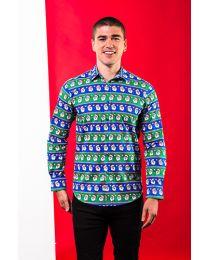 Kerstoverhemd Blauw/Groen Kerstmangezichtjes Heren